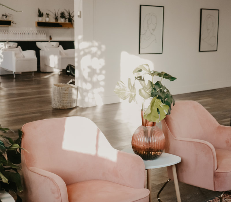 Pink chairs in salon with white walls