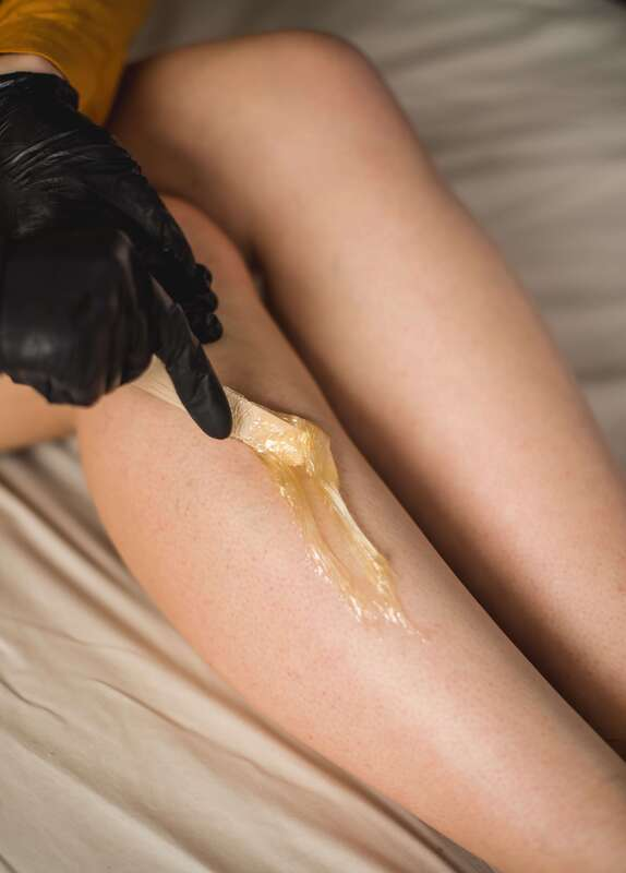 Wax application to legs
