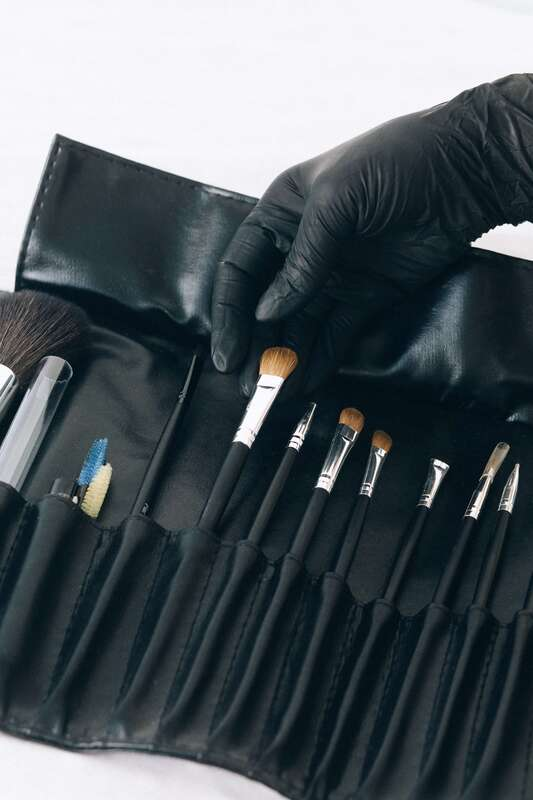 Makeup brushes in a leather case